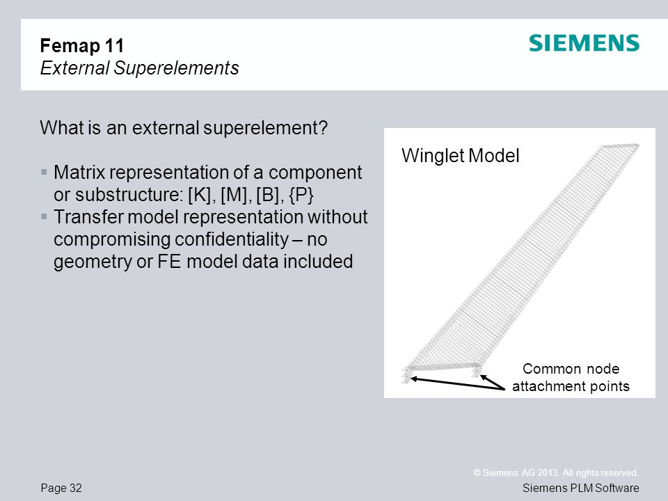 Page 32 © Siemens AG 2013. All rights reserved. Siemens PLM Software Femap 11 External Superelements What is an external superelement? Matrix represen