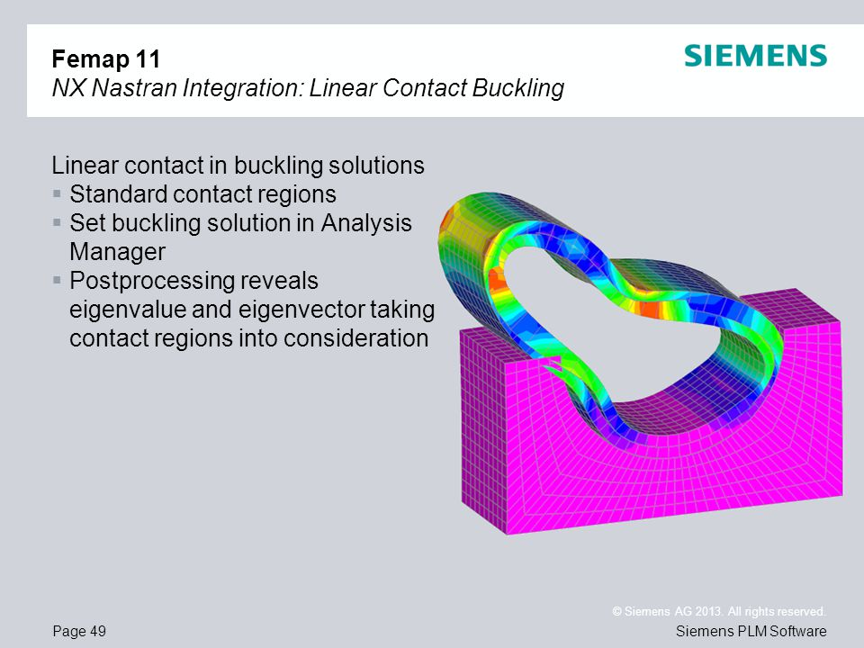 Page 49 © Siemens AG 2013. All rights reserved. Siemens PLM Software Femap 11 NX Nastran Integration: Linear Contact Buckling Linear contact in buckli