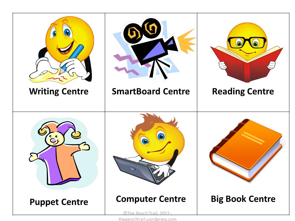 Writing CentreSmartBoard CentreReading Centre Puppet Centre Computer CentreBig Book Centre ©The Pencil Trail, 2012 - thepenciltrail.wordpress.com