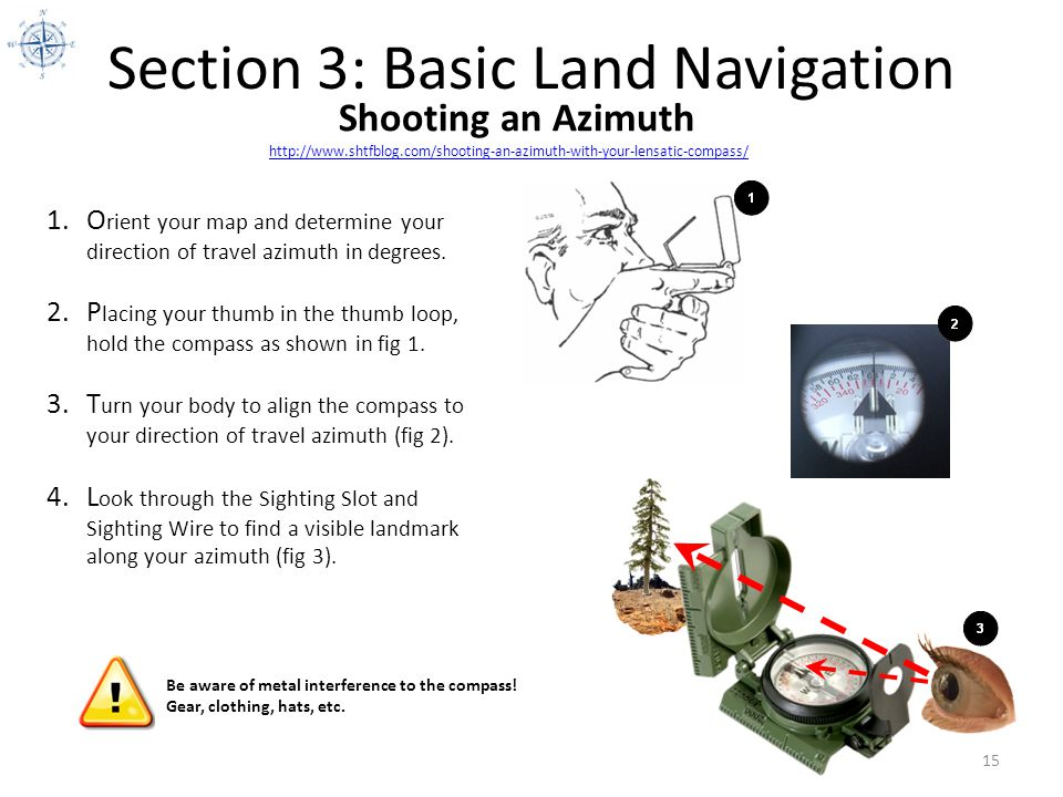 Section 3: Basic Land Navigation http://www.shtfblog.com/shooting-an-azimuth-with-your-lensatic-compass/ 15 Shooting an Azimuth 1.O rient your map and