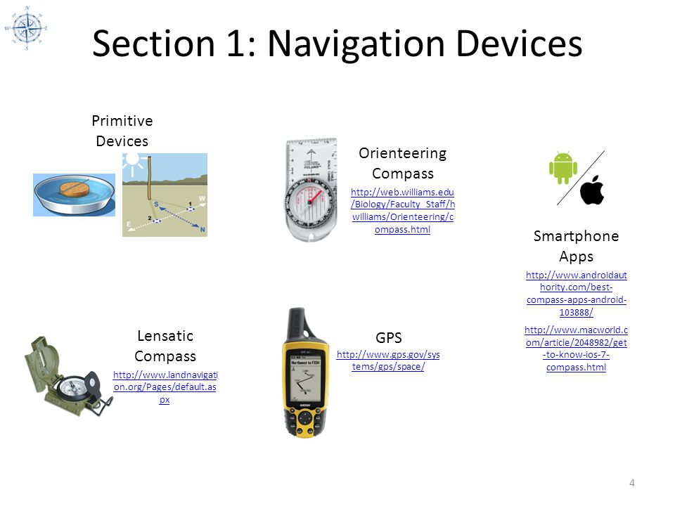 Section 1: Navigation Devices 5 Survival Needle Compass http://www.wikihow.co m/Make-a-Compass Primitive Navigation Devices Shadow Stick Sun Compass http://www.youtube.co m/watch?v=jtDdtFUJ4H Q#t=73 What you need: 1 Needle 1 Piece of cork or green leaf 1 Puddle or cup of water 1 Magnet How to make the Compass: Stroke the needle in the same direction, using steady, even strokes.