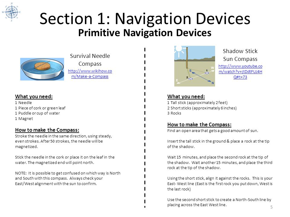 Section 1: Navigation Devices 5 Survival Needle Compass http://www.wikihow.co m/Make-a-Compass Primitive Navigation Devices Shadow Stick Sun Compass h