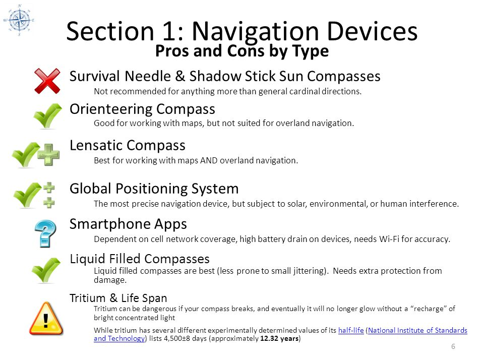 Section 1: Navigation Devices 6 Pros and Cons by Type Lensatic Compass Best for working with maps AND overland navigation. Orienteering Compass Good f