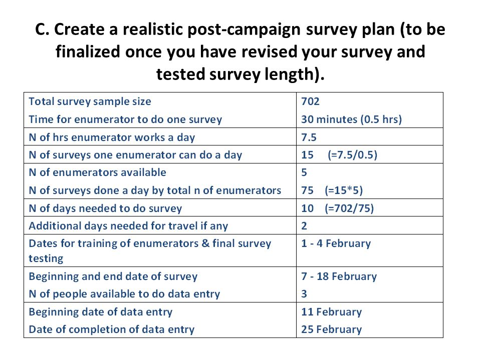 C. Create a realistic post-campaign survey plan (to be finalized once you have revised your survey and tested survey length).