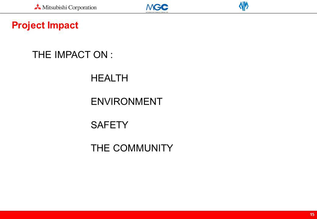 15 THE IMPACT ON : HEALTH ENVIRONMENT SAFETY THE COMMUNITY Project Impact