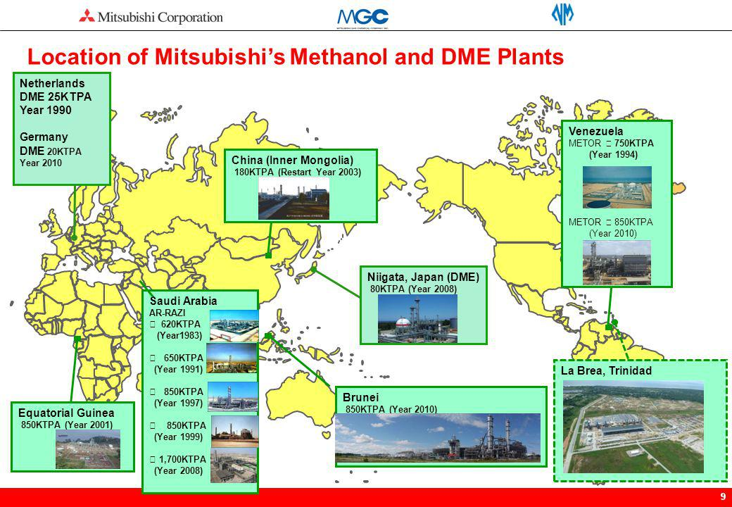 99 La Brea, Trinidad Netherlands DME 25KTPA Year 1990 Germany DME 20KTPA Year 2010 Location of Mitsubishis Methanol and DME Plants Niigata, Japan (DME