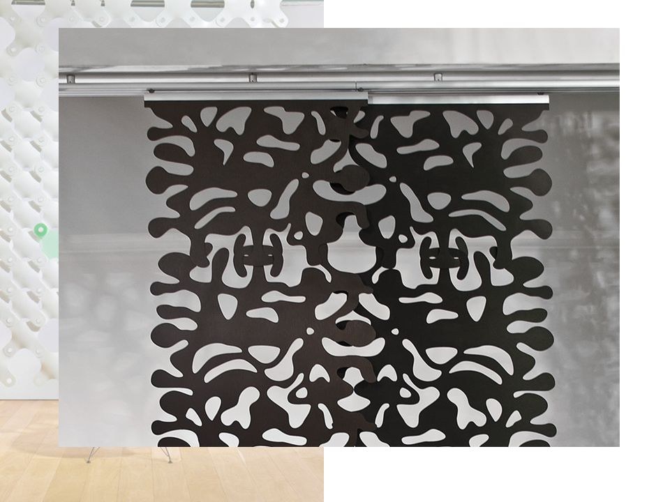- CONNECTOR is a ceiling mounted partition system with a unique linking element incorporated into each of the panel designs.