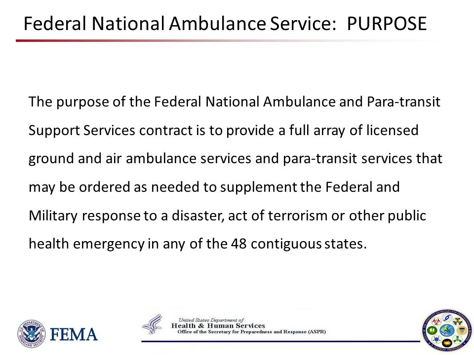 Background Why a National Ambulance Contract.