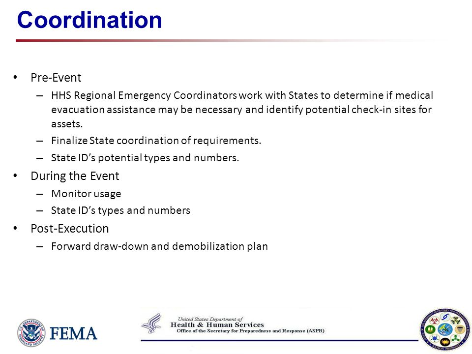 Coordination Pre-Event – HHS Regional Emergency Coordinators work with States to determine if medical evacuation assistance may be necessary and ident