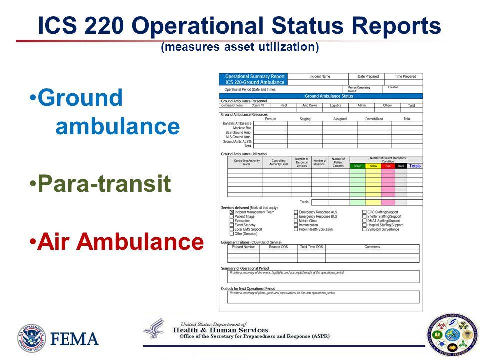 ICS 220 Operational Status Reports (measures asset utilization) Ground ambulance Para-transit Air Ambulance