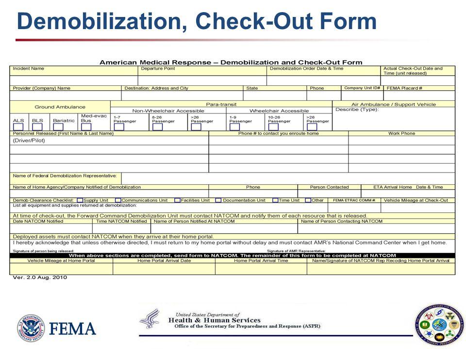 Demobilization, Check-Out Form