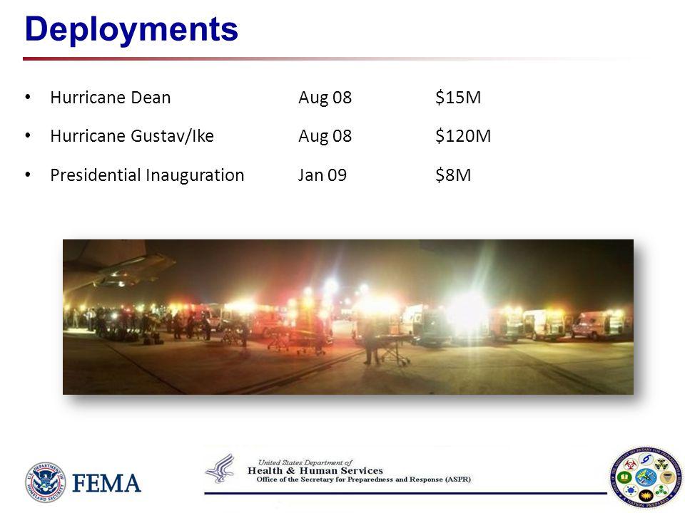 Deployments Hurricane DeanAug 08$15M Hurricane Gustav/Ike Aug 08$120M Presidential Inauguration Jan 09$8M
