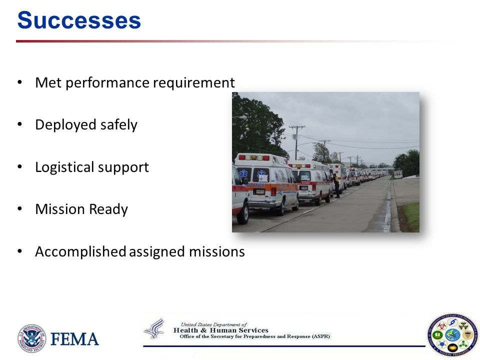 Successes Met performance requirement Deployed safely Logistical support Mission Ready Accomplished assigned missions