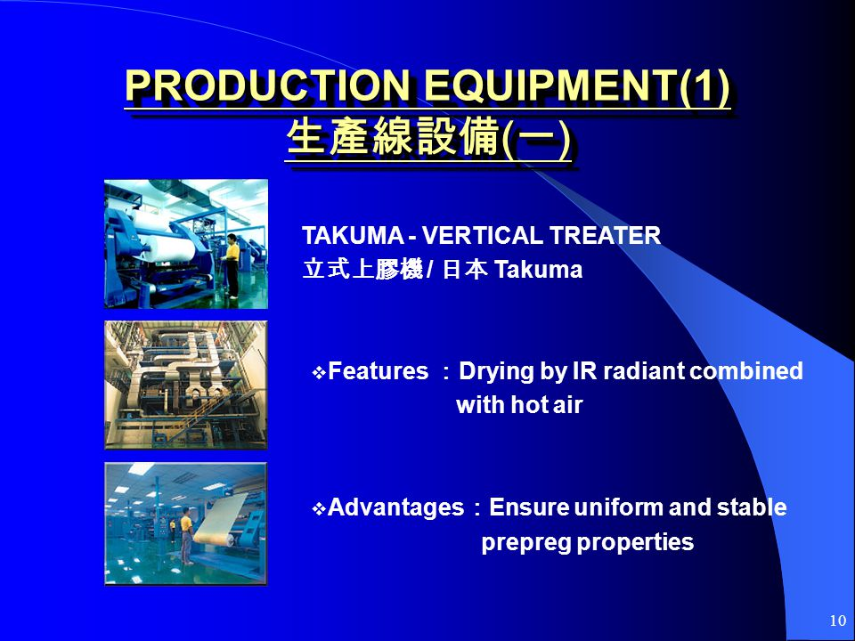 10 PRODUCTION EQUIPMENT(1) ( ) Features Drying by IR radiant combined with hot air Advantages Ensure uniform and stable prepreg properties TAKUMA - VE