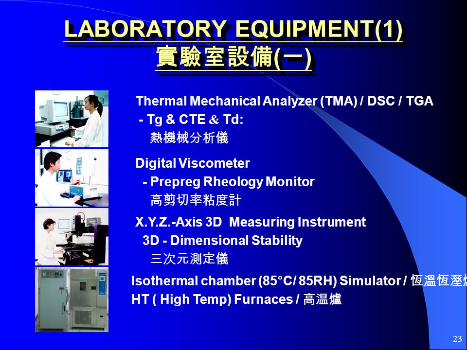 23 LABORATORY EQUIPMENT(1) ( ) Thermal Mechanical Analyzer (TMA) / DSC / TGA - Tg & CTE & Td: Digital Viscometer - Prepreg Rheology Monitor X.Y.Z.-Axis 3D Measuring Instrument 3D - Dimensional Stability Isothermal chamber (85°C/ 85RH) Simulator / HT ( High Temp) Furnaces /