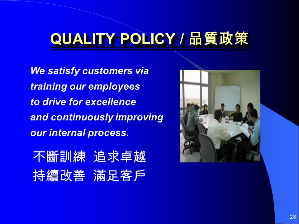 28 QUALITY POLICY / QUALITY POLICY / We satisfy customers via training our employees to drive for excellence and continuously improving our internal p
