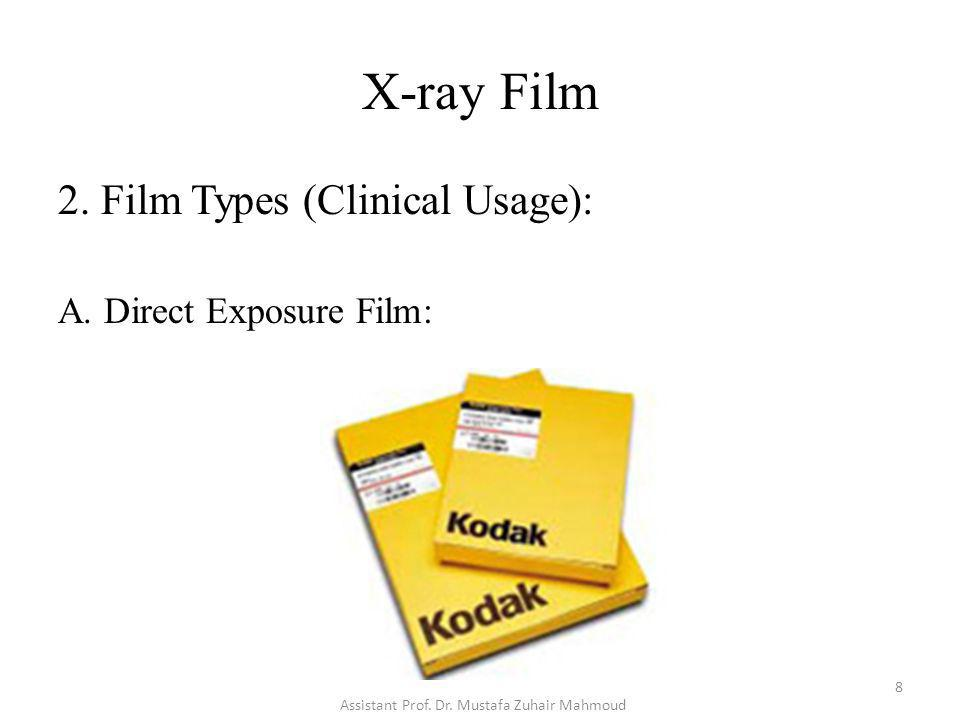 X-ray Film 2.Film Types (Clinical Usage): A.