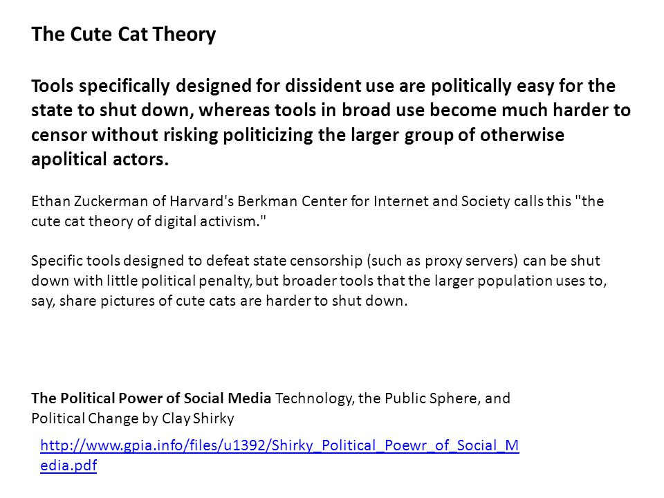 The Cute Cat Theory Tools specifically designed for dissident use are politically easy for the state to shut down, whereas tools in broad use become much harder to censor without risking politicizing the larger group of otherwise apolitical actors.