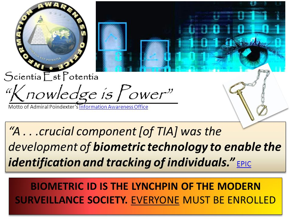 Knowledge is Power A...crucial component [of TIA] was the development of biometric technology to enable the identification and tracking of individuals.