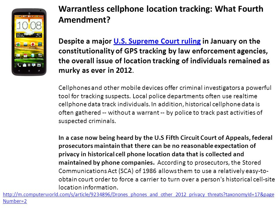 Warrantless cellphone location tracking: What Fourth Amendment.
