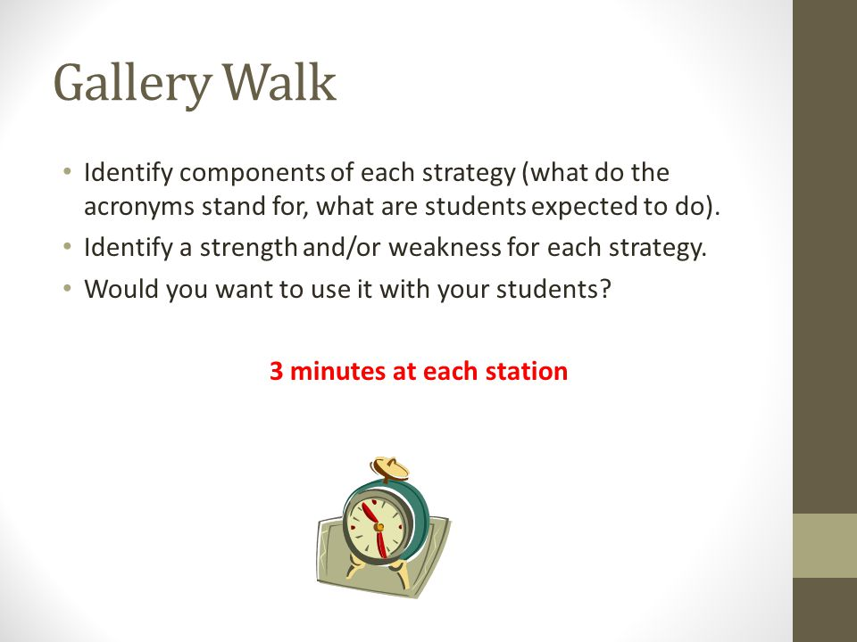 Gallery Walk Identify components of each strategy (what do the acronyms stand for, what are students expected to do).