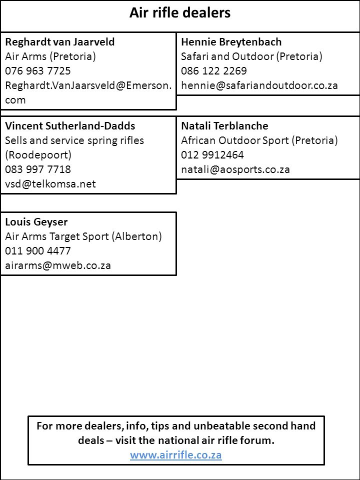Air rifle dealers Reghardt van Jaarveld Air Arms (Pretoria) 076 963 7725 Reghardt.VanJaarsveld@Emerson. com Hennie Breytenbach Safari and Outdoor (Pre