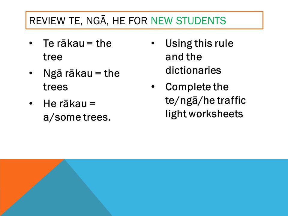 Te rākau = the tree Ngā rākau = the trees He rākau = a/some trees.