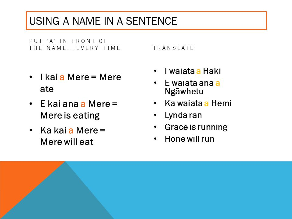 USING A NAME IN A SENTENCE PUT A IN FRONT OF THE NAME...EVERY TIME I kai a Mere = Mere ate E kai ana a Mere = Mere is eating Ka kai a Mere = Mere will eat TRANSLATE I waiata a Haki E waiata ana a Ngāwhetu Ka waiata a Hemi Lynda ran Grace is running Hone will run