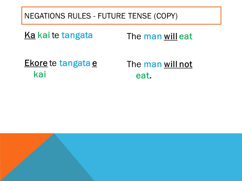 Ka kai te tangata Ekore te tangata e kai The man will eat The man will not eat. NEGATIONS RULES - FUTURE TENSE (COPY)