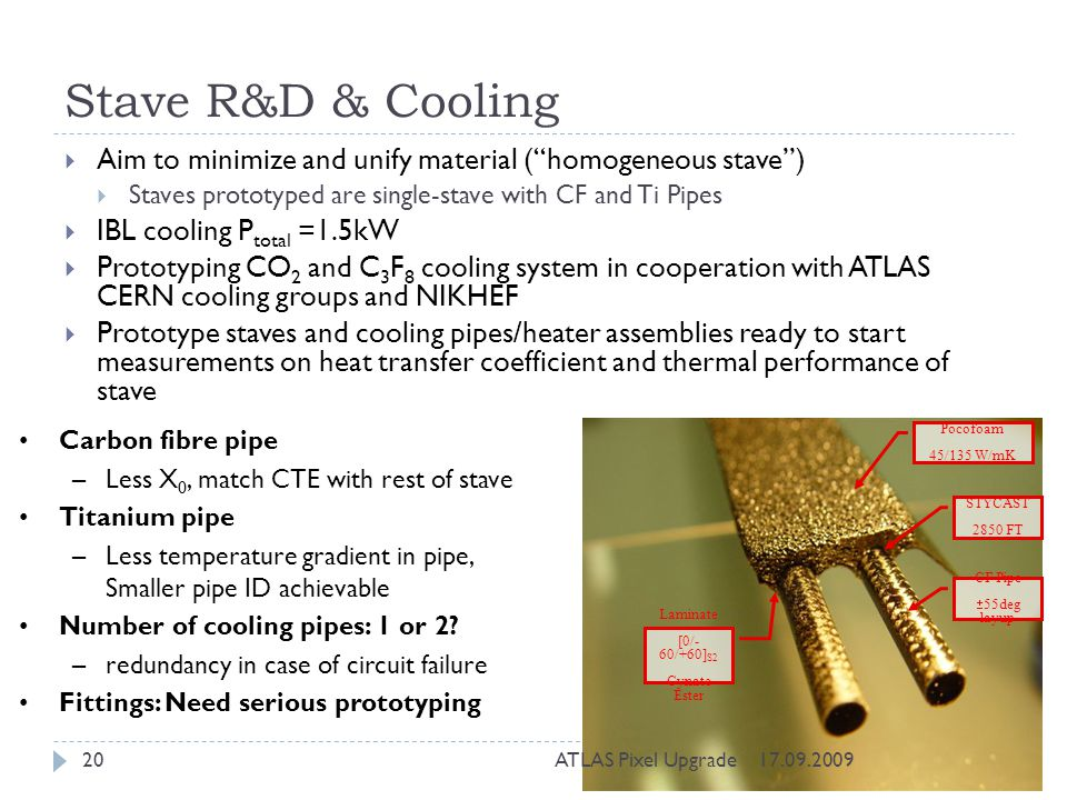 Stave R&D & Cooling Aim to minimize and unify material (homogeneous stave) Staves prototyped are single-stave with CF and Ti Pipes IBL cooling P total =1.5kW Prototyping CO 2 and C 3 F 8 cooling system in cooperation with ATLAS CERN cooling groups and NIKHEF Prototype staves and cooling pipes/heater assemblies ready to start measurements on heat transfer coefficient and thermal performance of stave Pocofoam 45/135 W/mK CF Pipe 55deg layup STYCAST 2850 FT Laminate [0/- 60/+60] S2 Cynate Ester Carbon fibre pipe –Less X 0, match CTE with rest of stave Titanium pipe –Less temperature gradient in pipe, Smaller pipe ID achievable Number of cooling pipes: 1 or 2.