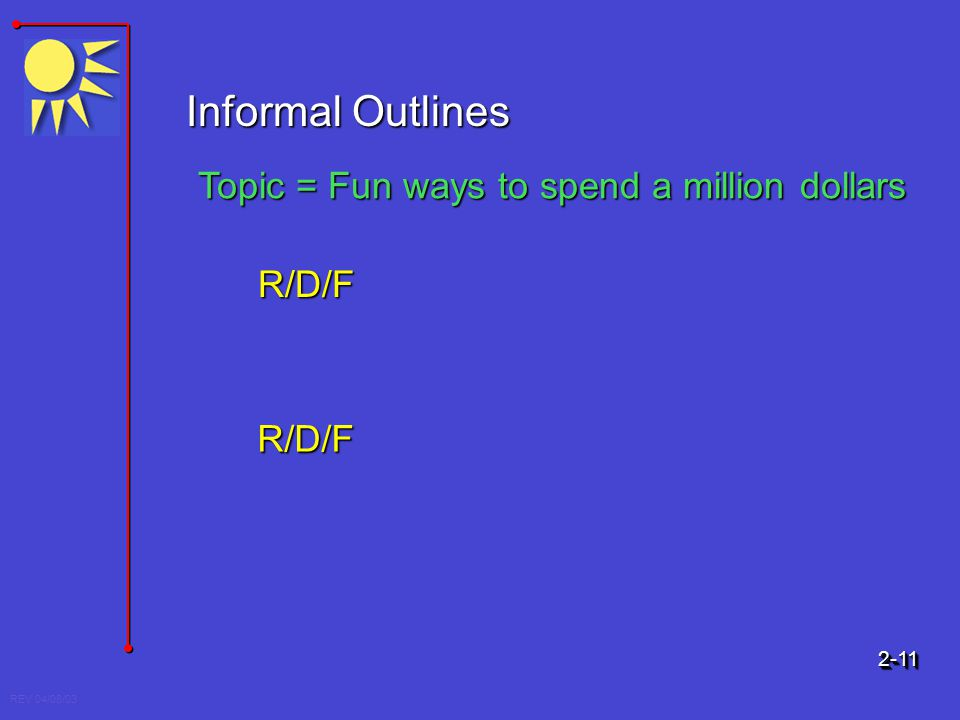 REV 04/08/03 Informal Outlines Topic = Fun ways to spend a million dollars R/D/F R/D/F 2-112-11