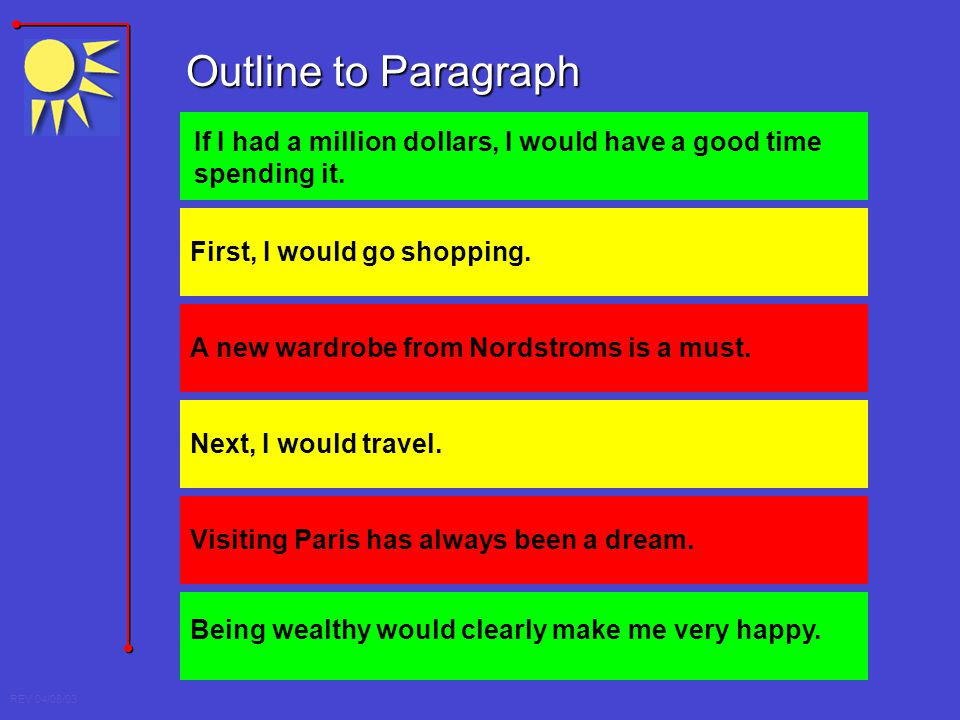 REV 04/08/03 If I had a million dollars, I would have a good time spending it. Outline to Paragraph First, I would go shopping. A new wardrobe from No