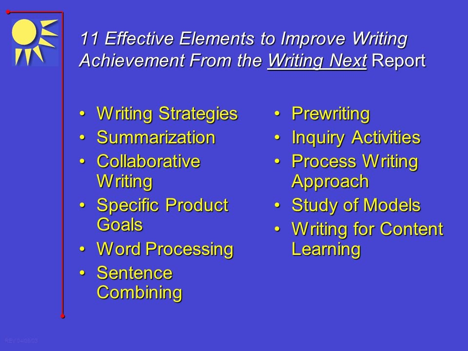 REV 04/08/03 11 Effective Elements to Improve Writing Achievement From the Writing Next Report Writing StrategiesWriting Strategies SummarizationSumma