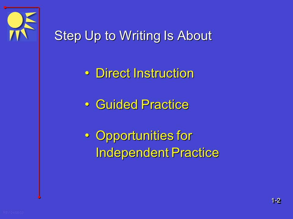 REV 04/08/03 Step Up to Writing Is About Direct Instruction Direct Instruction Guided Practice Guided Practice Opportunities for Independent Practice