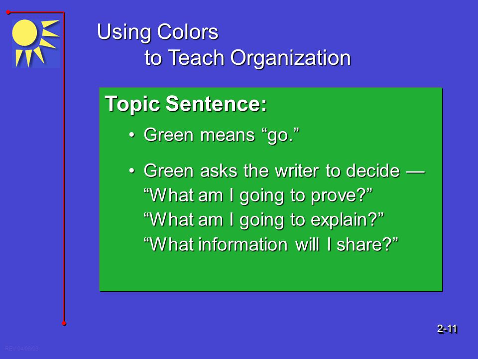 REV 04/08/03 Using Colors to Teach Organization Topic Sentence: Green means go.Green means go. Green asks the writer to decide What am I going to prov