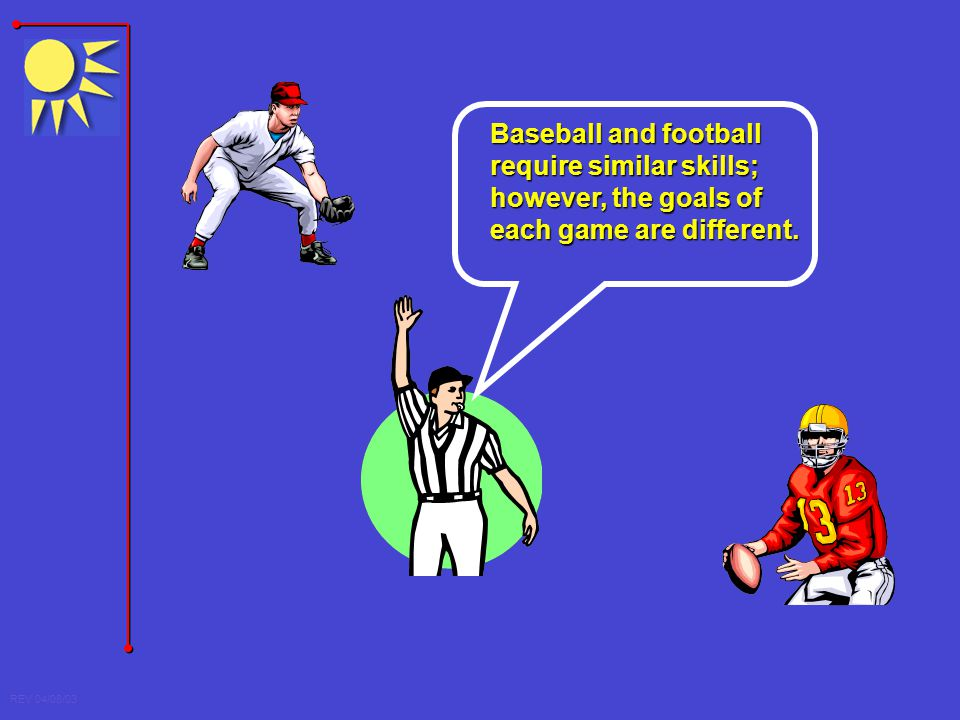 REV 04/08/03 Baseball and football require similar skills; however, the goals of each game are different.