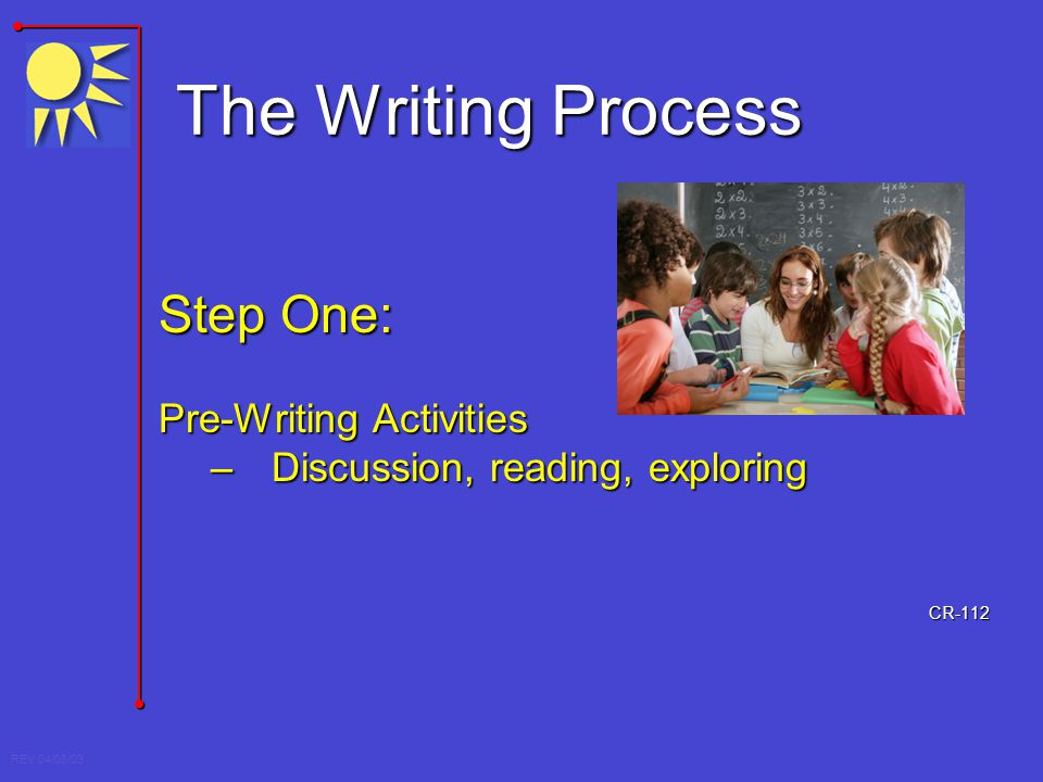 REV 04/08/03 The Writing Process Step One: Pre-Writing Activities –Discussion, reading, exploring CR-112