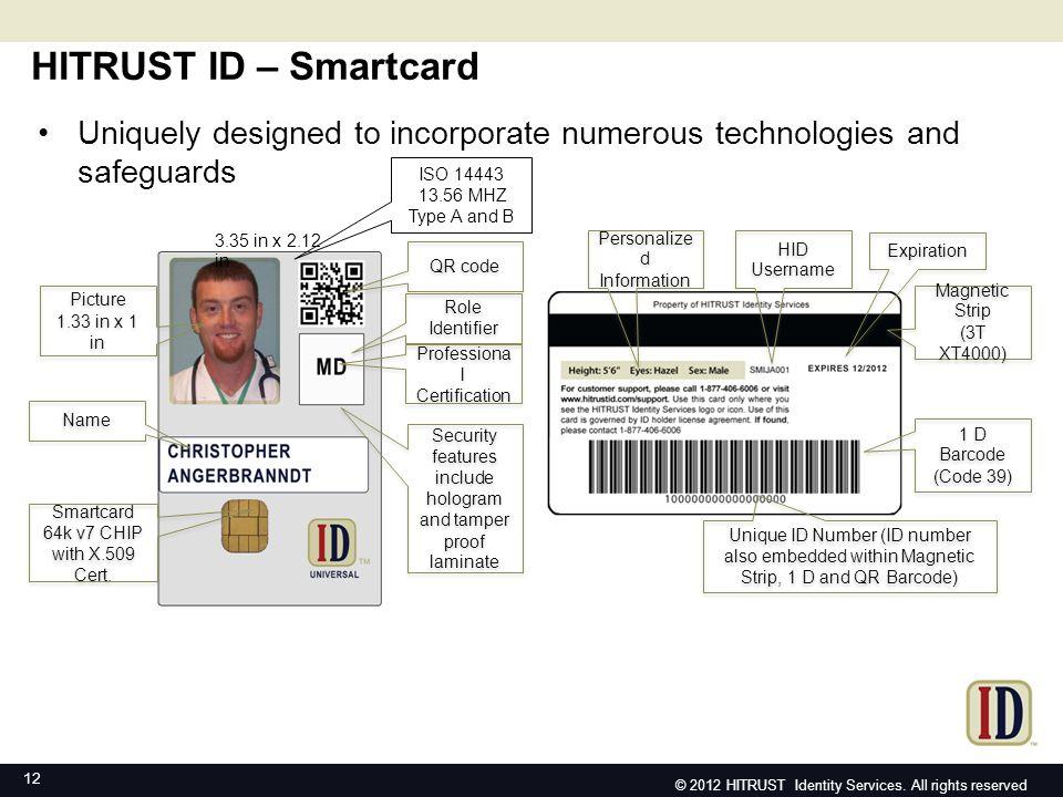 HITR UST ID - Sma rtcar d 12 HITRUST ID – Smartcard Picture 1.33 in x 1 in Picture 1.33 in x 1 in Name Smartcard 64k v7 CHIP with X.509 Cert.