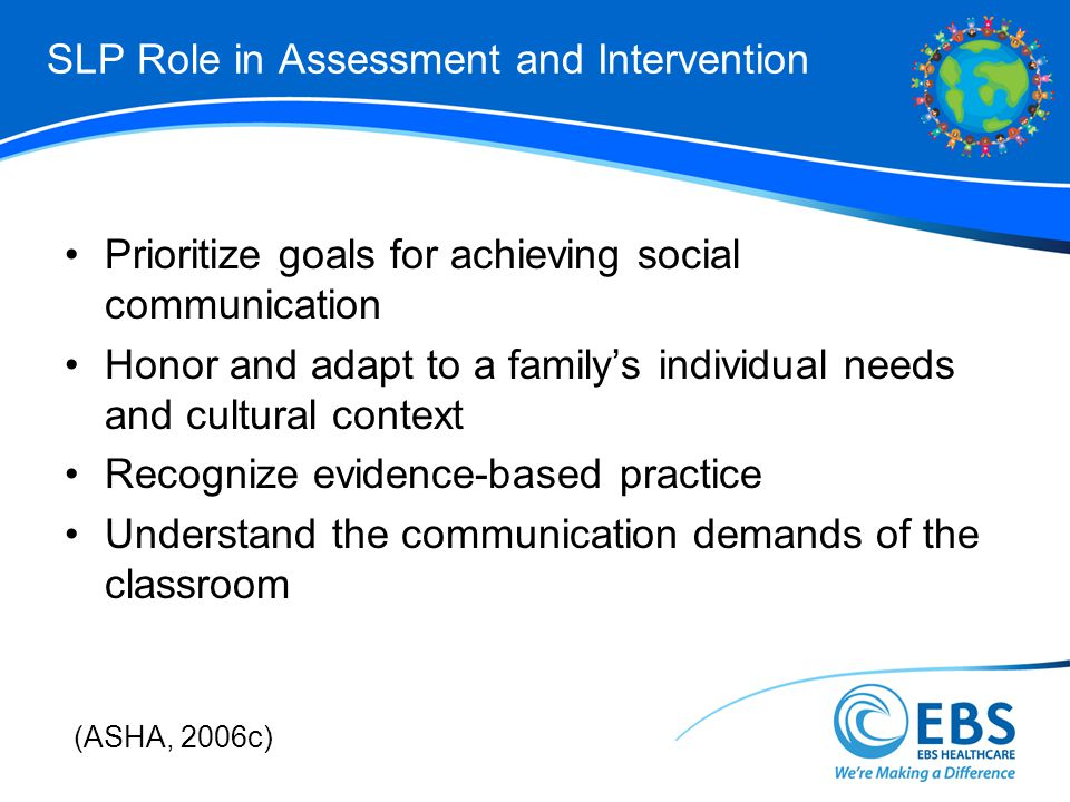 SLP Role in Assessment and Intervention Prioritize goals for achieving social communication Honor and adapt to a familys individual needs and cultural context Recognize evidence-based practice Understand the communication demands of the classroom (ASHA, 2006c)