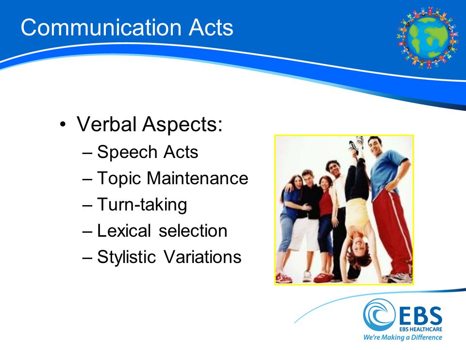 Communication Acts Verbal Aspects: –Speech Acts –Topic Maintenance –Turn-taking –Lexical selection –Stylistic Variations