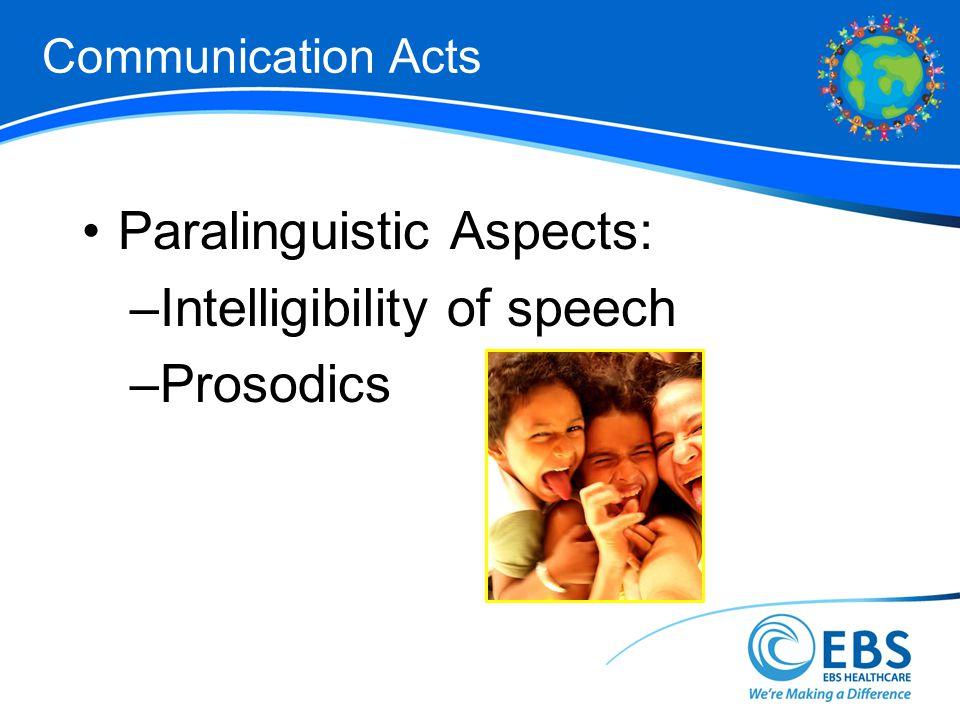 Communication Acts Paralinguistic Aspects: –Intelligibility of speech –Prosodics
