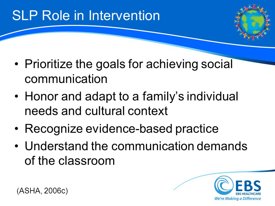 SLP Role in Intervention Prioritize the goals for achieving social communication Honor and adapt to a familys individual needs and cultural context Recognize evidence-based practice Understand the communication demands of the classroom (ASHA, 2006c)