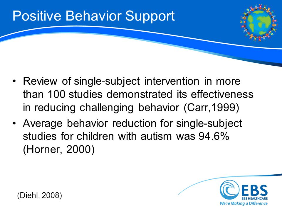 Positive Behavior Support Review of single-subject intervention in more than 100 studies demonstrated its effectiveness in reducing challenging behavior (Carr,1999) Average behavior reduction for single-subject studies for children with autism was 94.6% (Horner, 2000) (Diehl, 2008)