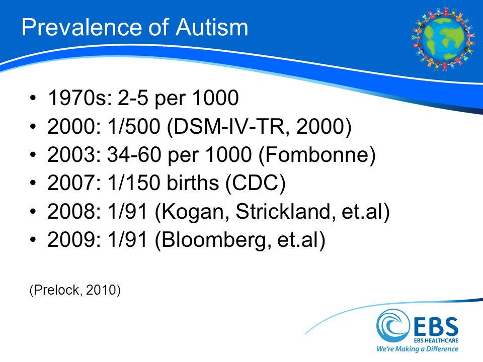 Prevalence of Autism 1970s: 2-5 per 1000 2000: 1/500 (DSM-IV-TR, 2000) 2003: 34-60 per 1000 (Fombonne) 2007: 1/150 births (CDC) 2008: 1/91 (Kogan, Str