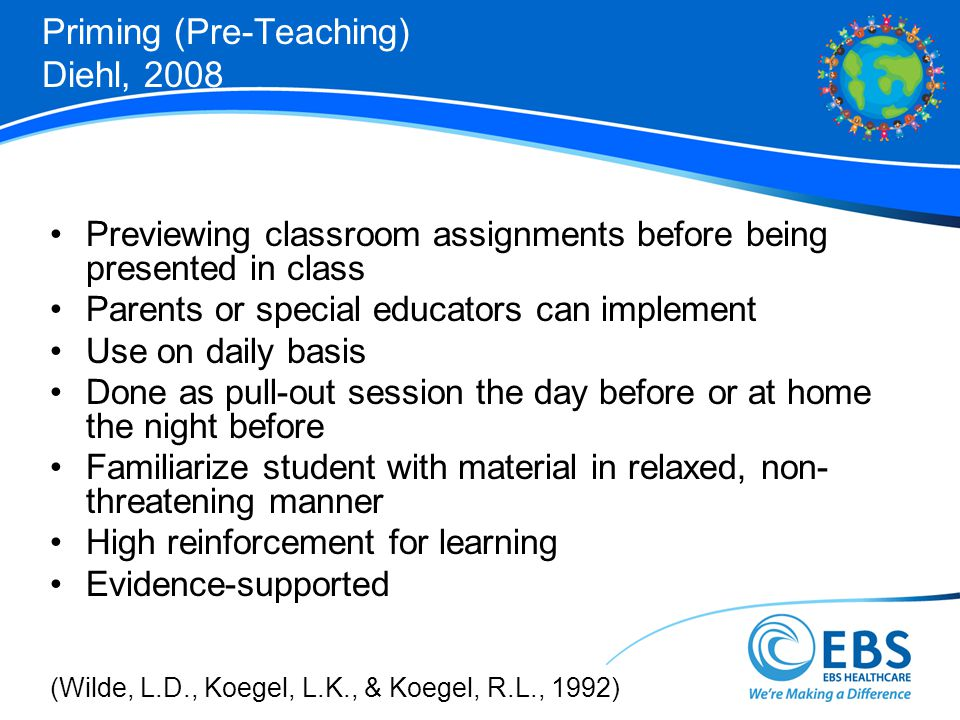 Priming (Pre-Teaching) Diehl, 2008 Previewing classroom assignments before being presented in class Parents or special educators can implement Use on daily basis Done as pull-out session the day before or at home the night before Familiarize student with material in relaxed, non- threatening manner High reinforcement for learning Evidence-supported (Wilde, L.D., Koegel, L.K., & Koegel, R.L., 1992)