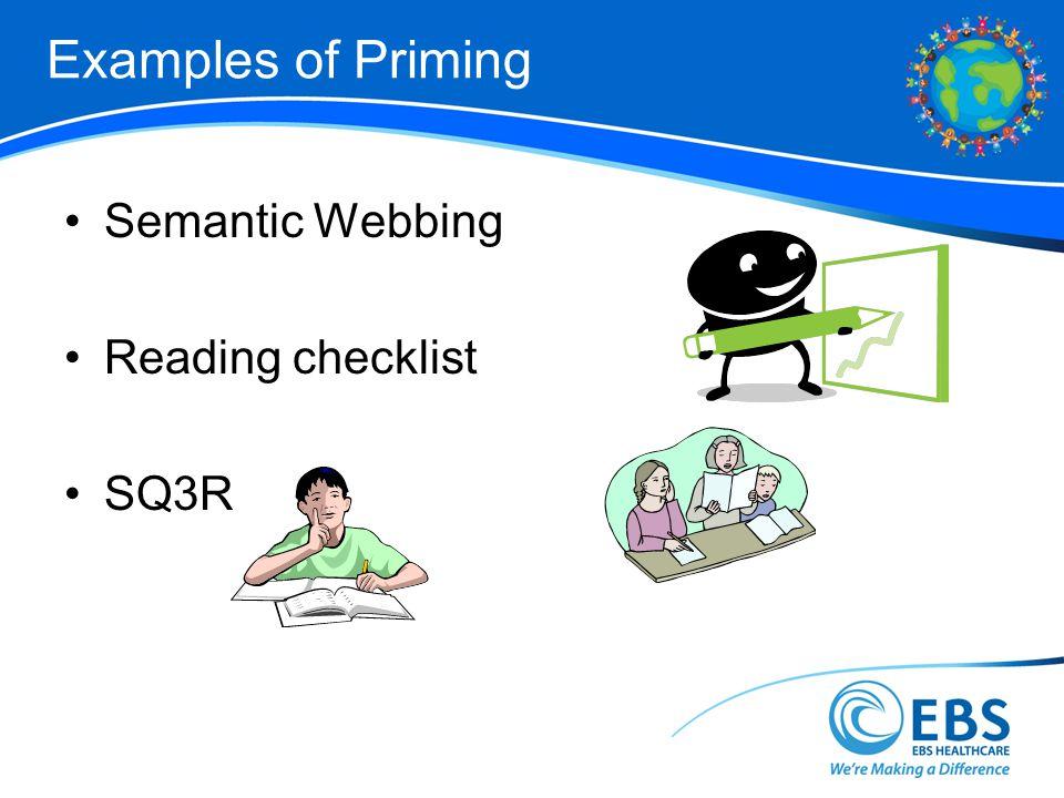 Examples of Priming Semantic Webbing Reading checklist SQ3R