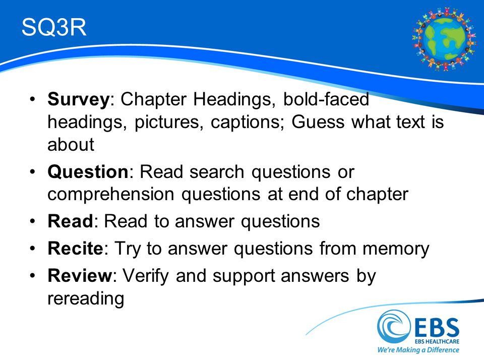 SQ3R Survey: Chapter Headings, bold-faced headings, pictures, captions; Guess what text is about Question: Read search questions or comprehension questions at end of chapter Read: Read to answer questions Recite: Try to answer questions from memory Review: Verify and support answers by rereading