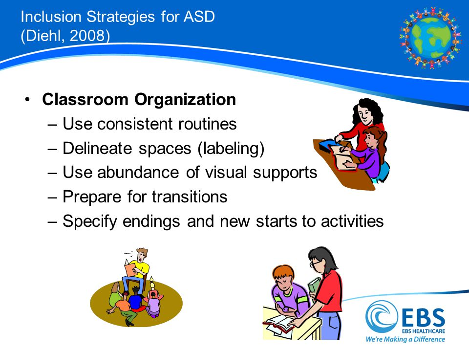 Inclusion Strategies for ASD (Diehl, 2008) Classroom Organization –Use consistent routines –Delineate spaces (labeling) –Use abundance of visual supports –Prepare for transitions –Specify endings and new starts to activities
