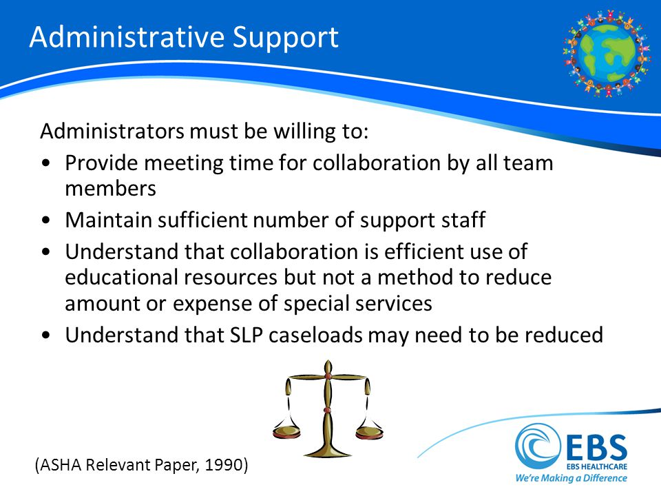 Administrative Support Administrators must be willing to: Provide meeting time for collaboration by all team members Maintain sufficient number of support staff Understand that collaboration is efficient use of educational resources but not a method to reduce amount or expense of special services Understand that SLP caseloads may need to be reduced (ASHA Relevant Paper, 1990)