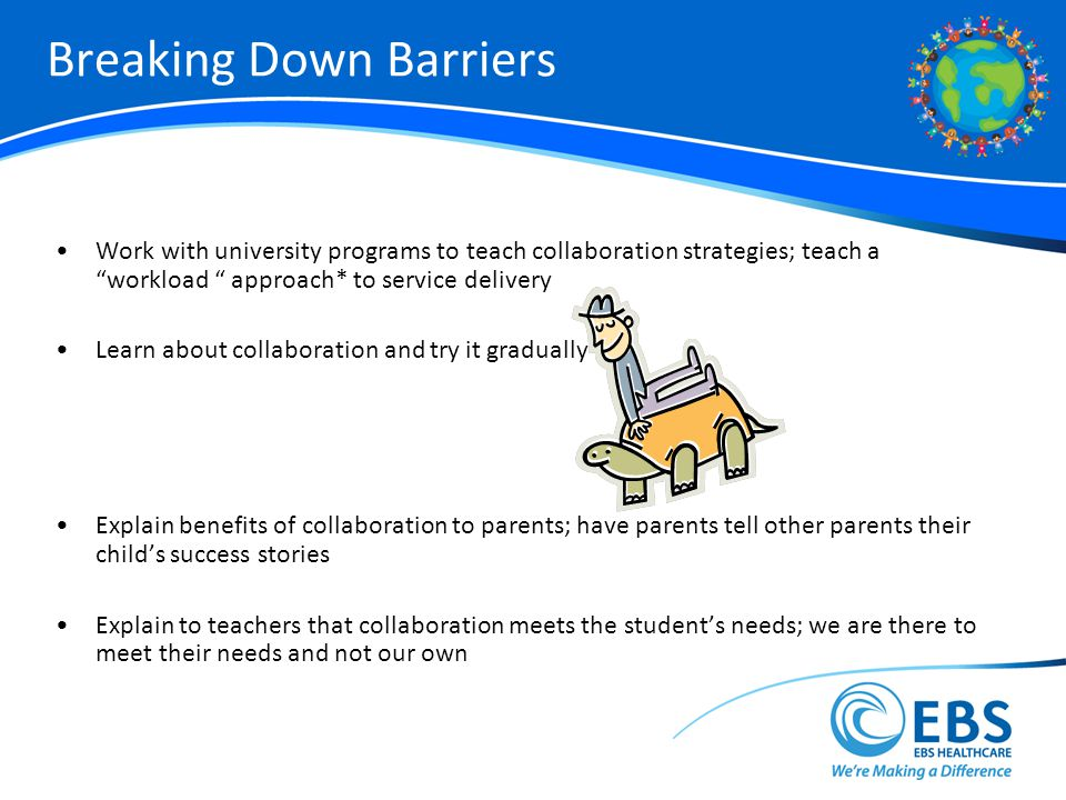 Breaking Down Barriers Work with university programs to teach collaboration strategies; teach a workload approach* to service delivery Learn about collaboration and try it gradually Explain benefits of collaboration to parents; have parents tell other parents their childs success stories Explain to teachers that collaboration meets the students needs; we are there to meet their needs and not our own